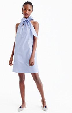 Tie-neck dress in oxford cotton