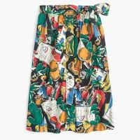 Tall A-line button-up skirt in postcard print