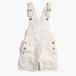 Pre-order Girls' stretch denim shortalls in white