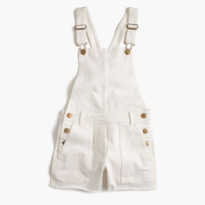 Girls' stretch denim shortalls in white
