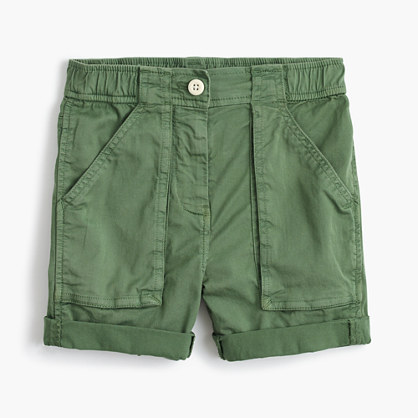 Girls' utility short in garment-dyed cotton