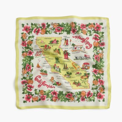 Italian silk square scarf in California map print