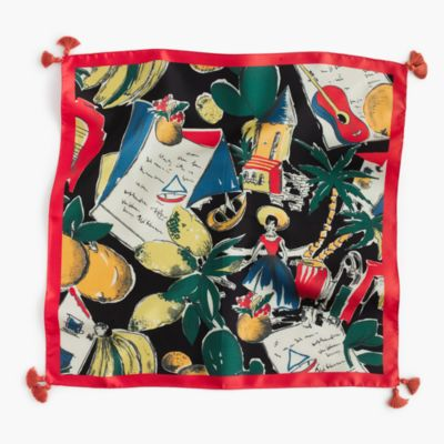Italian silk square scarf in postcard print