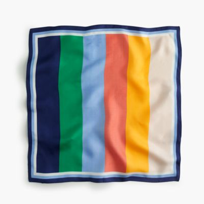 Italian silk square scarf in bright stripe