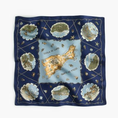Italian silk square scarf in Capri map print