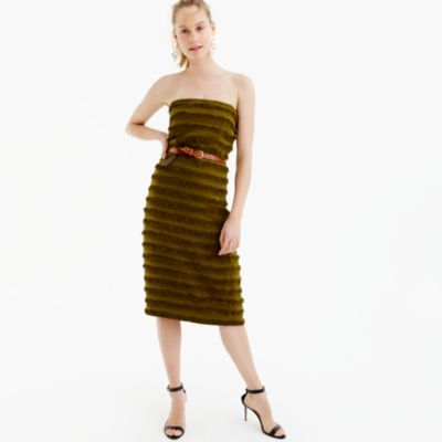 Collection strapless striped raffia dress