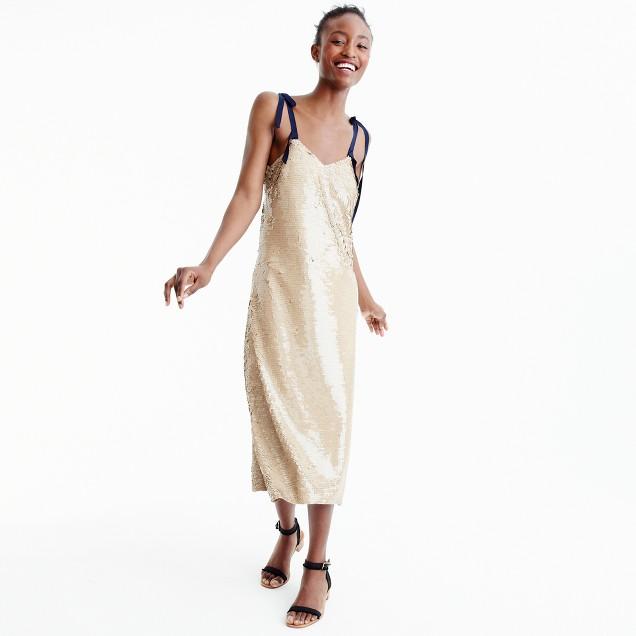Collection tie-shoulder sequin dress