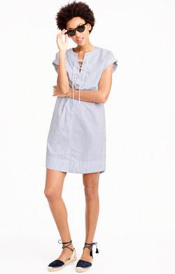 Striped lace-up shirtdress