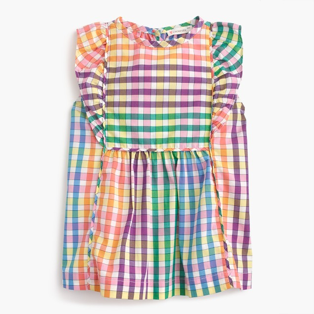 Girls' ruffly top in rainbow check