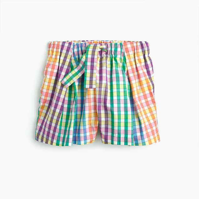 Girls' tie-waist pull-on short in rainbow check