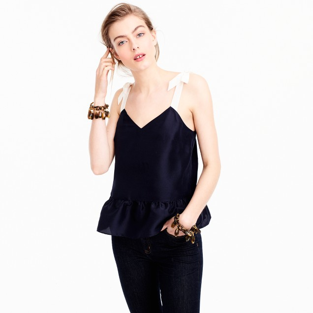 Silk tie-shoulder peplum top