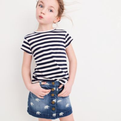 Girls' button-front denim skirt with elephants