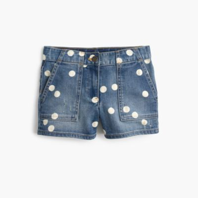 Girls' denim short with polka dots