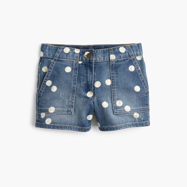 Girls' denim short with polka dots