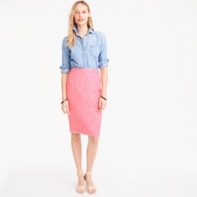 Tall pencil skirt in neon fuchsia tweed
