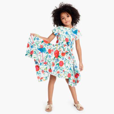 Girls' hankerchief dress in secret garden print