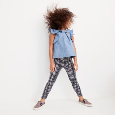 Girls' everyday cropped leggings in mini elephant print
