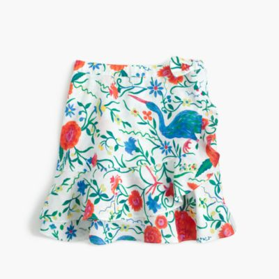 Girls' flutter skirt in secret garden print