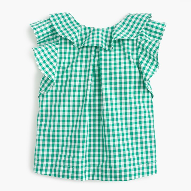 Girls' ruffle top in gingham