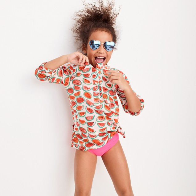 Girls' side-ruffle tunic in watermelon print