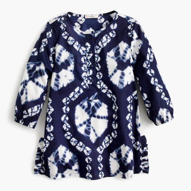 Girls' side-ruffle tunic in indigo tie-dye
