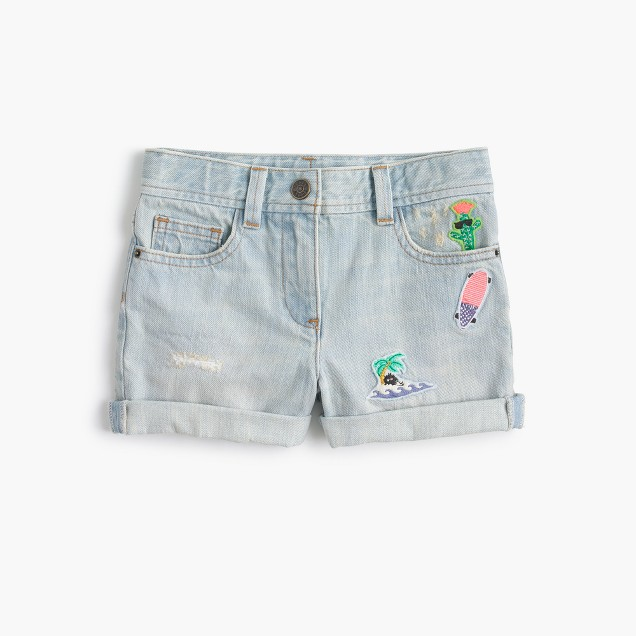Girls' denim short with critter patches