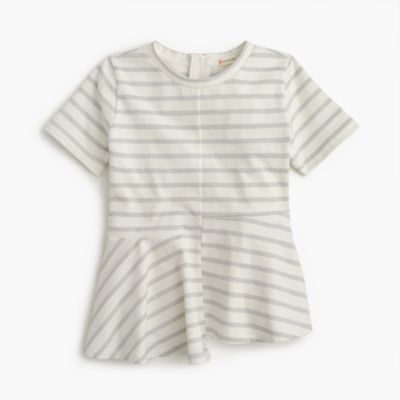 Girls' sparkly striped swingy T-shirt