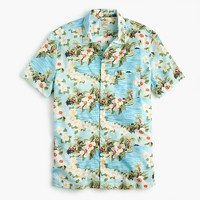 Short-sleeve camp-collar shirt in floral print