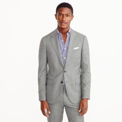 Ludlow wide-lapel suit jacket in grey Italian worsted wool