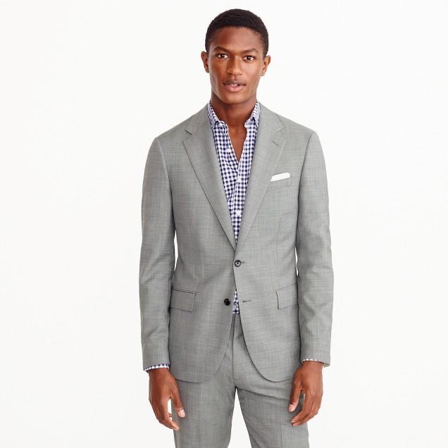 Ludlow wide-lapel suit jacket in grey Italian worsted wool