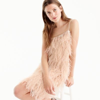 Silk sequin and feather dress