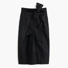 Tie-waist skirt in dyed seersucker - BLACK