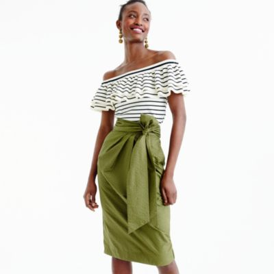 Tie-waist skirt in dyed seersucker