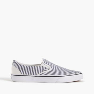 Vans® for J.Crew slip-on sneakers in seersucker stripe
