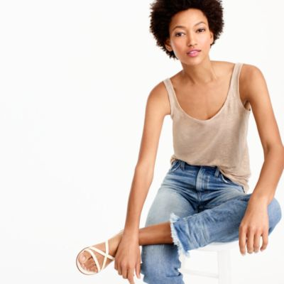Scoopneck linen tank top in metallic