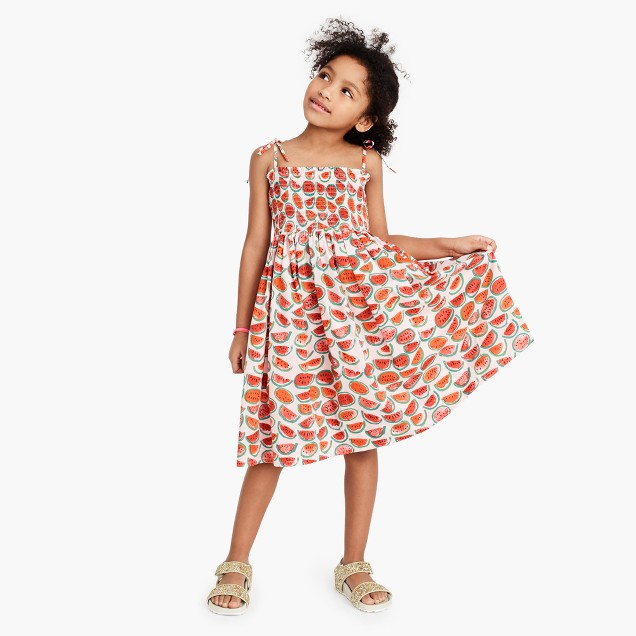 Girls' smocked shoulder-tie dress in watermelon print