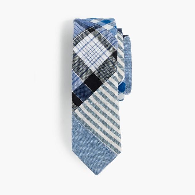 Boys' cotton tie in patchwork