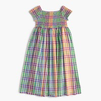 Girls' smocked dress in rainbow check