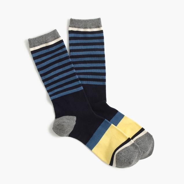 Colorblock striped trouser socks