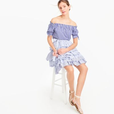 Collection tiered ruffle skirt with tie waist