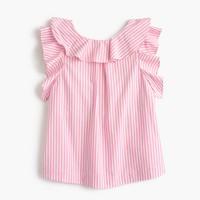 Girls' ruffle top in pink stripe