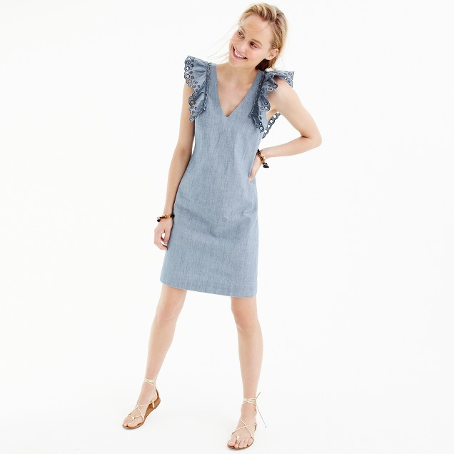 Petite chambray ruffle-shoulder sheath dress