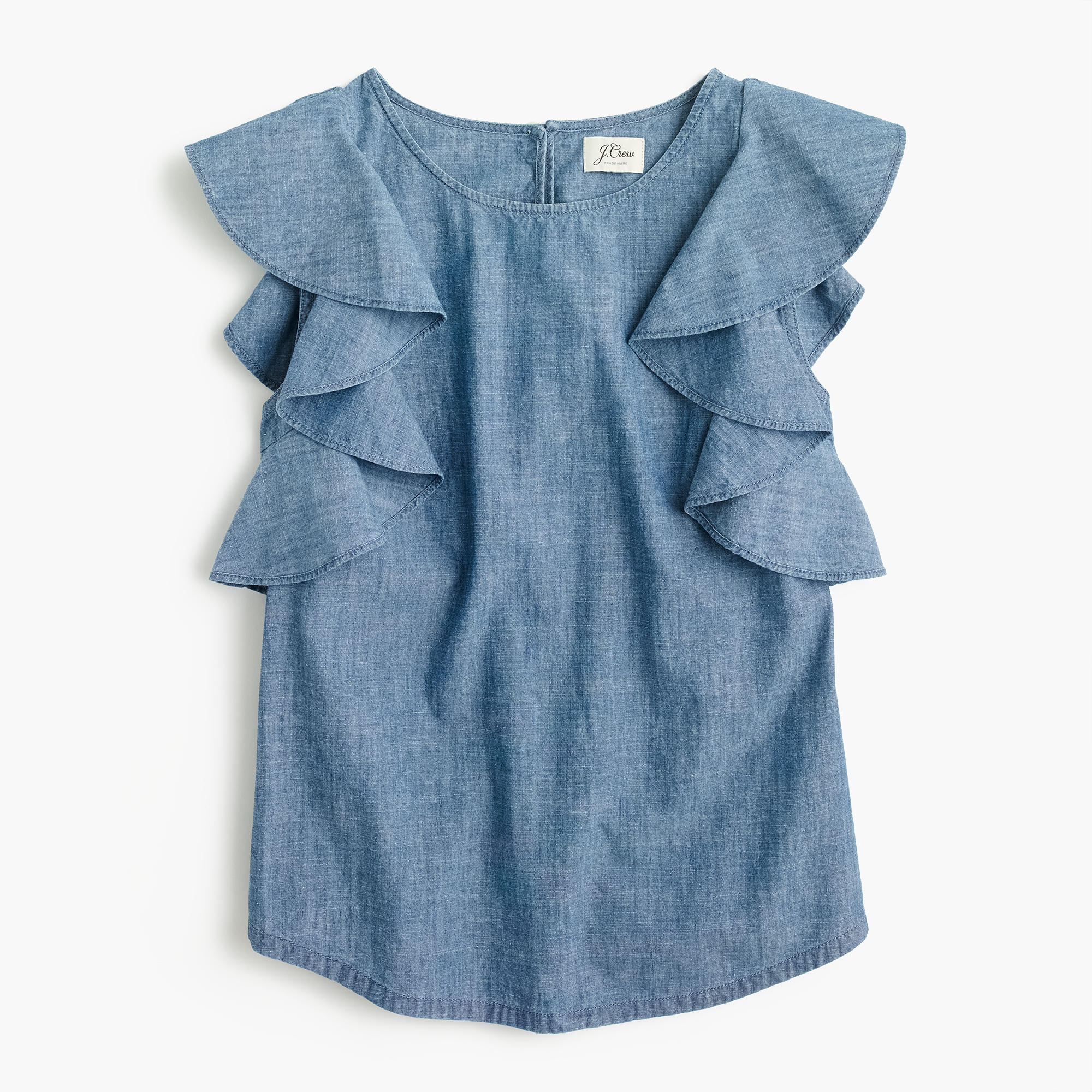 ruffle top in chambray women blouses j crew