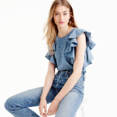 Petite ruffle top in chambray