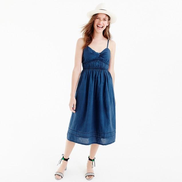 Smocked twist-front dress in indigo