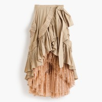 Collection ruffle skirt in dark stone with floating dot tulle underlay