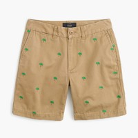 Boyfriend chino short with embroidered palm trees