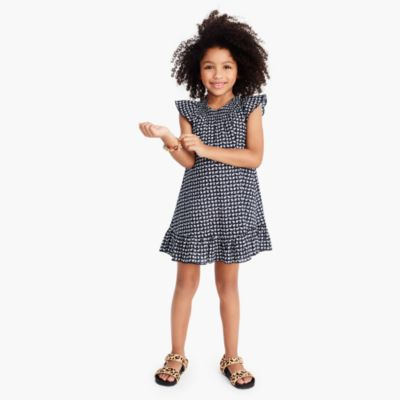 Girls' ruffle dress in mini elephant print