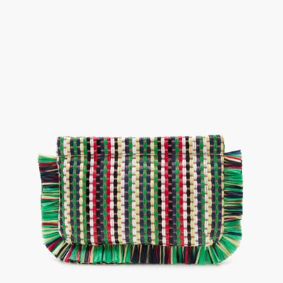 Striped straw clutch