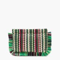 Striped straw clutch